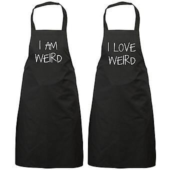 Couples I Am Weird I Love Weird Black Apron Set