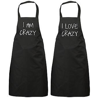 Couples I Am Crazy I Love Crazy Black Apron Set