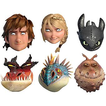 How To Train Your Dragon 2 - Variety Party Card Fancy Dress Mask Pack of 6 (Hiccup, Toothless, Astrid, Nadder, Gronckle and Monstrous Nightmare)