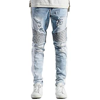 Embellish Bolt Turkish Biker Denim Jeans White