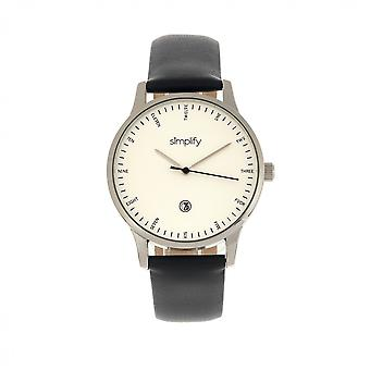 Simplify The 4300 Leather-Band Watch w/Date - Silver/Black