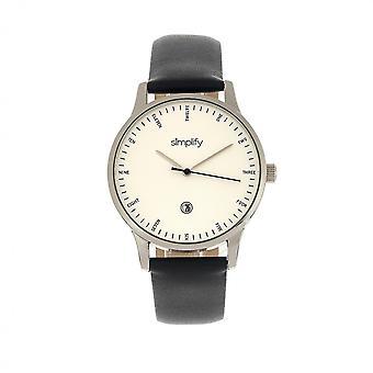 Yksinkertaistaa 4300 nahka bändi Watch w/päivä-hopea/musta