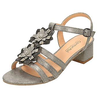 Comfort Plus Gold Wide E Fit Slingback Low Heel Strappy Sandals
