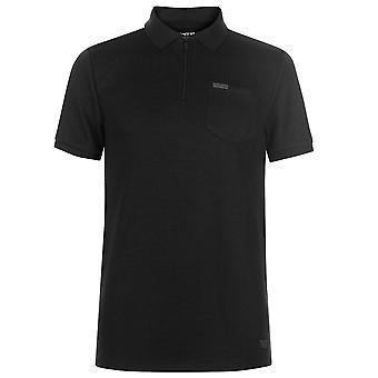 Firetrap Mens Blackseal Rib Zip Polo T Shirt T-Shirt Kortärmad Top