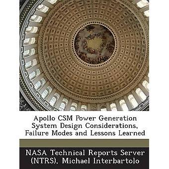 Apollo CSM Power Generation Systems Design Überlegungen Ausfallarten und Lehren von Interbartolo & Michael