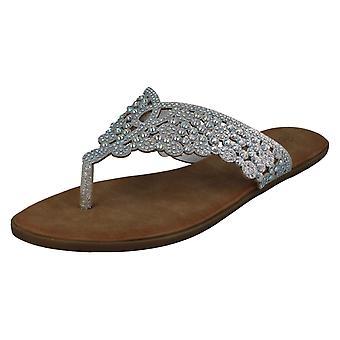 Ladies Savannah Diamante Toepost sandaler F00194
