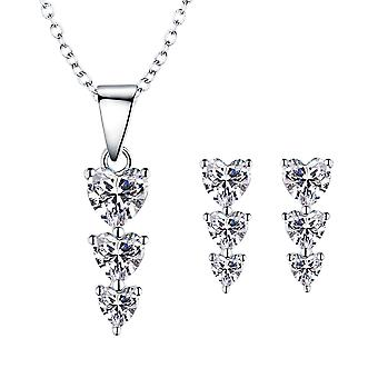 925 Sterling Silver Trio Of Heart Pendant Necklace & Stud Earring Set