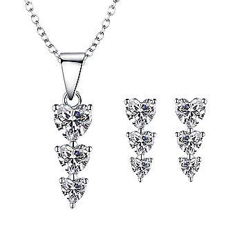 925 Sterling Zilver Trio van hart hanger ketting & Stud Earring Set