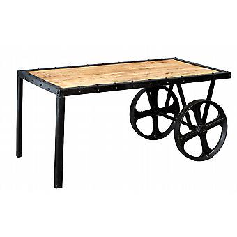 Maison Industrial Metal & Wood Cart Coffee Table