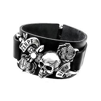 Alchemy Gothic Carpe Diem Leather Bracelet