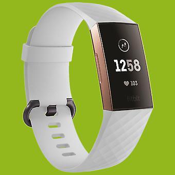 Fitbit Charge 3 / 4 muovi / silikoni rannekoru naisille / koko S valkoinen katsella