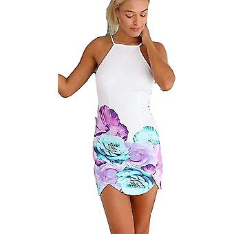 Damer hett mode blommig sommar Print bodycon ärmlös mini part