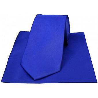David Van Hagen Matching Satin Tie and Handkerchief Set - Royal Blue