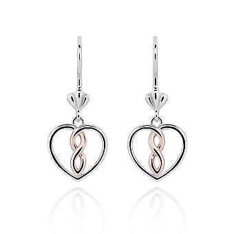 Orphelia 925 sølv ørering hvid og rose hjerte