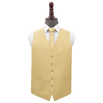 Gold Plain Shantung Wedding Waistcoat & Tie Set