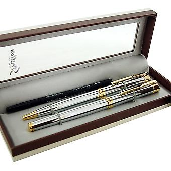 Stratton Two Tone Rollerball And Ballpoint Pen Silver Gold Gift Set Refillable