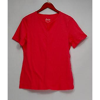 Denim & Co. Top Kurzarm stricken Y-Ausschnitt Lachs rosa A292488