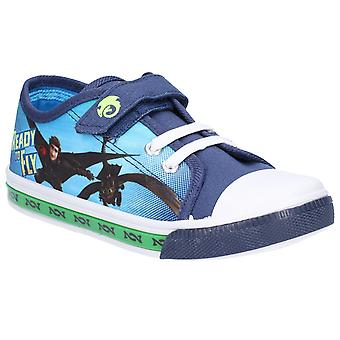 Leomil Kids How to train your dragon Low Sneakers touch fastening shoe Navy