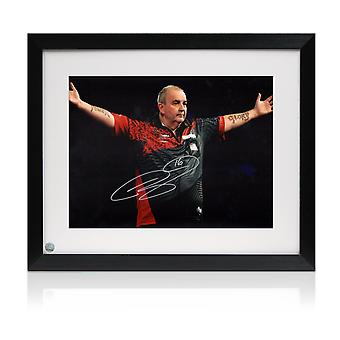 Phil Taylor Signed Darts Photo: The Power. Framed