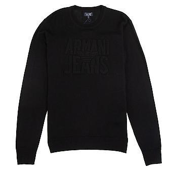 Armani Jeans In rilievo Logo Leggero Sweatshirt Nero