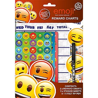 2 Emoji Themed Wipe-Clean Childrens Reward Charts with Stickers & Pen