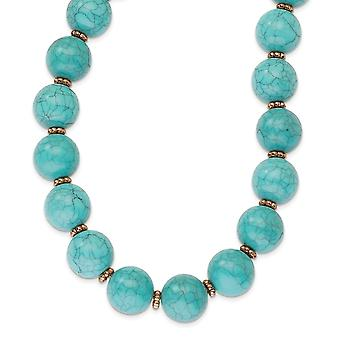 Fancy Lobster Closure Copper tone Aqua Beads 16inch With Ext Necklace Jewelry Gifts for Women