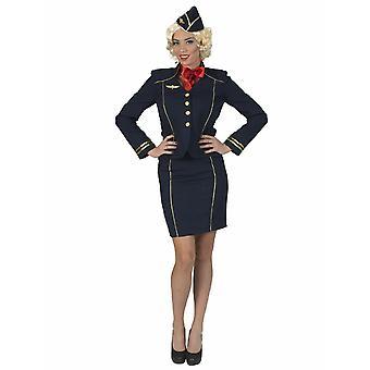 Asistente de vuelo Fiona traje de la azafata uniforme capitán Blazer Professions Aviación Carnaval Carnaval traje de mujer