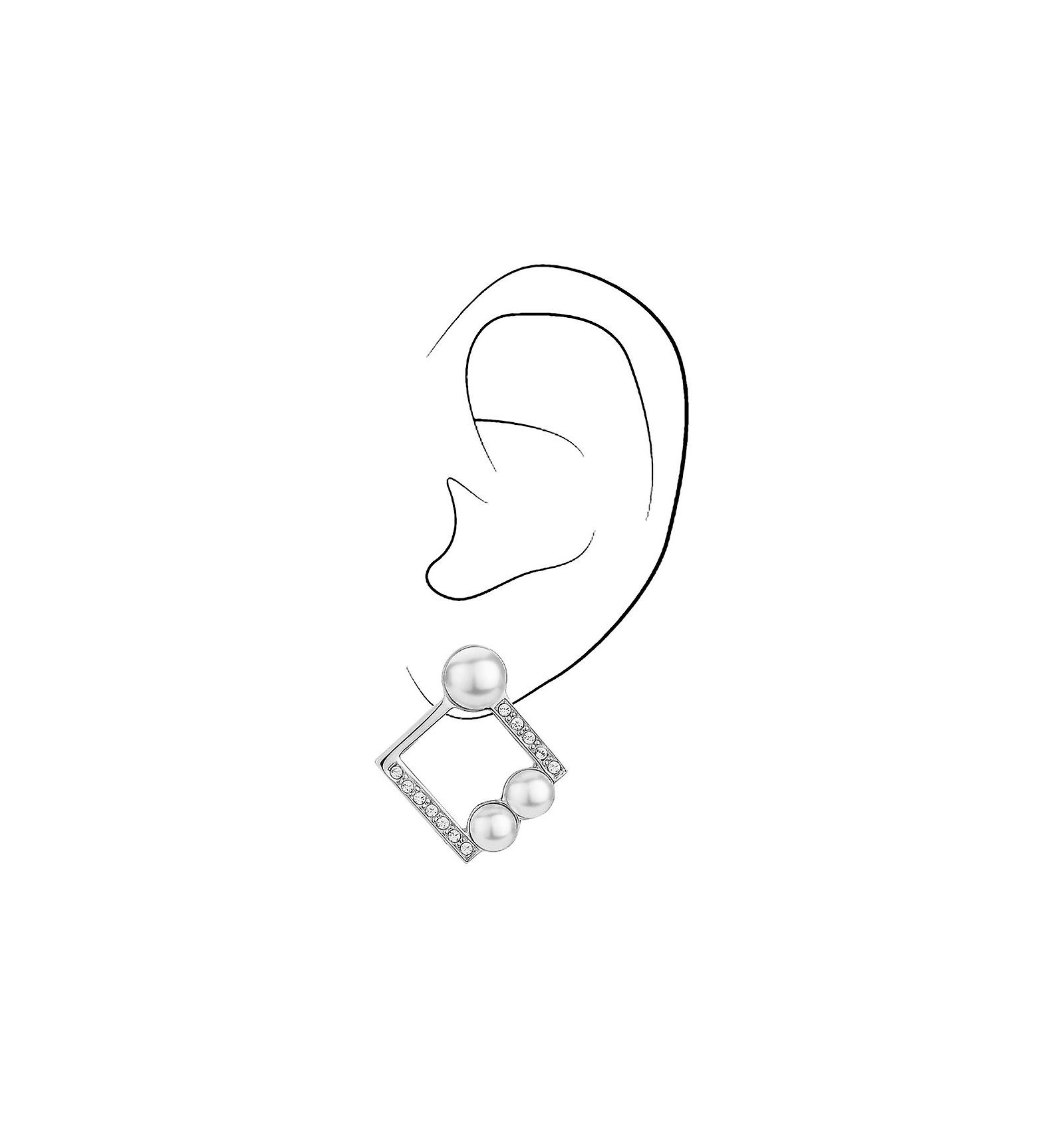 Traveller clip earring - rhodium plated - square - 114178