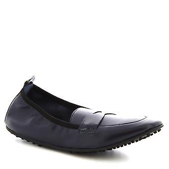 Leonardo Shoes Femmes-apos;s chaussures à l'appartement de ballet en cuir de veau bleu