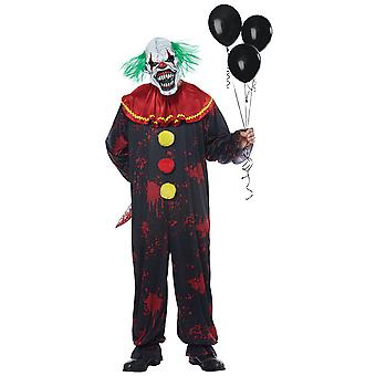 Menacing Clown Horror Creepy Sinister Jester Joker Halloween Mens Costume