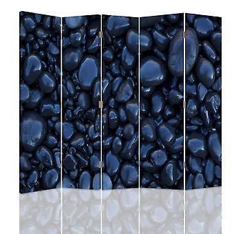 Raumteiler, 5 Panels, Doppelseitig, drehbar 360 ?? ° Leinwand, Schwarze Steine