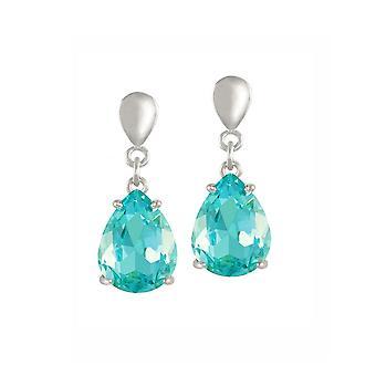 Eternal Collection Seduction Teardrop Aqua Crystal Silver Tone Drop Screw Back Clip On Earrings
