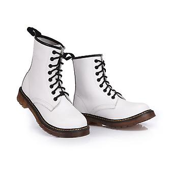 White boots in real cow leather with 16 centimeters shaft