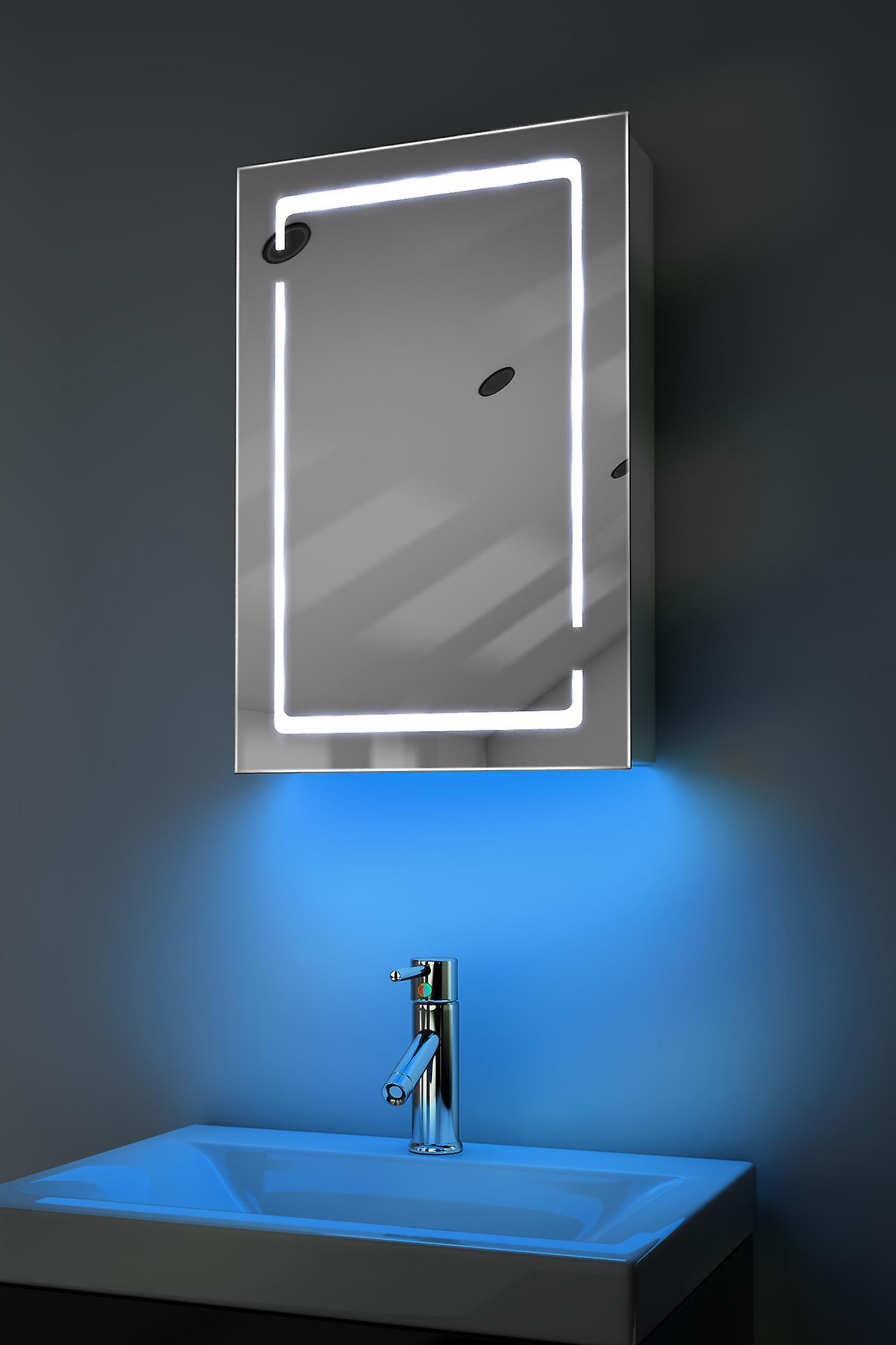 Cabinet de salle de bains audio RGB avec capteur et sockr Socket k350rgbaud