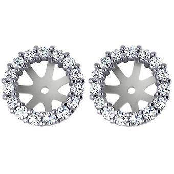 3/4ct Diamond Earring Studs Halo Jackets 14 Kt WG (6.5-7mm)