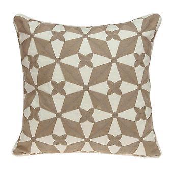 """20"""" x 0.5"""" x 20"""" Cubierta de almohada de acento en color beige y blanco de transición"""