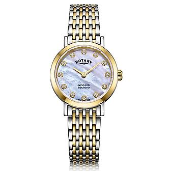 Rotary Womens Windsor Diamond Date Two Tone Bracelet LB05301/41/D Watch