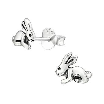 Rabbit - 925 Sterling Silver Plain Ear Studs - W38953X