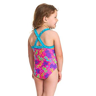Zoggs Girls Sea Unicorn Ruffle X Back One Piece Swimsuit - Pink/Multi