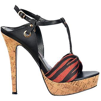 Onlineshoe T Bar Cork Plataforma Stiletto Sandalia - Detalle del dedo del pie de la tela - Negro