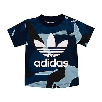 Baby Boys adidas Originali Camo T-Shirt In Blue- Manica corta- Ribbed Collar-