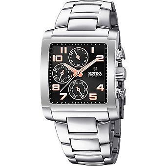 Festina CHRONO F20423-7 Uhr - Stahl Stahl Mann Armband schwarz Zifferblatt