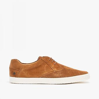 Base London Keel Mens Perforated Suede Casual Shoes Tan