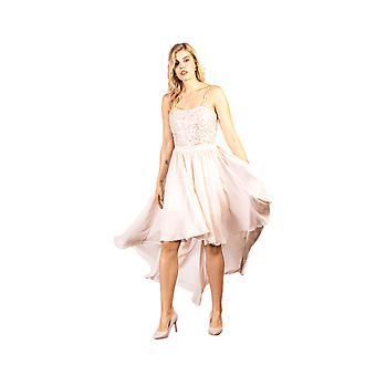 ルーヴフォーエバーピンク装飾スパンコールバストハイローロングドレス