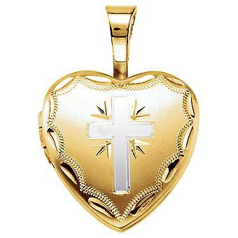 14k gult gull blinket 925 sterling sølv 12.5x12mm polert kjærlighet hjerte religiøs tro kryss fotomedaljong anheng nec