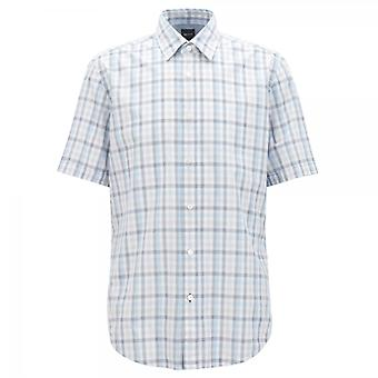 Hugo Boss Luka 5 Short Sleeve Sleeve Blue Check Shirt 410 50382458