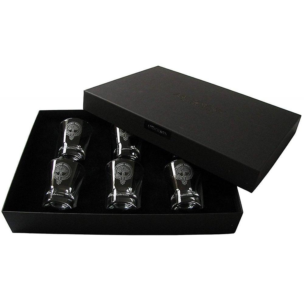 Art Pewter Wallace Clan Crest Dram Glass Set Of 6