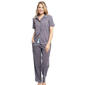 Cyberjammies 4394 Kvinnor & apos, s Olivia Blue Geo Print Bomull Pyjamas Top