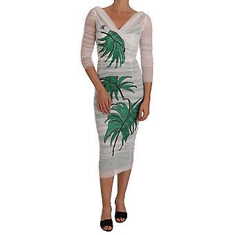 Dolce & Gabbana White Stretch Bodycon Crystal Leaf Dress