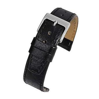 Calf leather watch strap buffalo grain black open ended chrome buckle  size 6mm to 20mm
